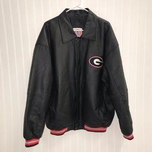 UGA Black Leather Varsity Letterman Jacket Sz L